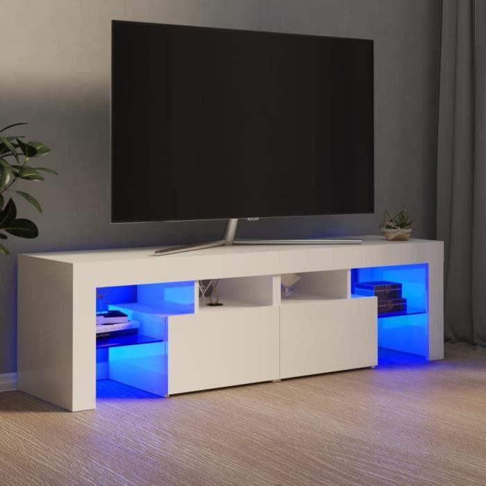 VBESTLIFE Meuble TV avec lumières LED Blanc brillant 140x35x40 cm