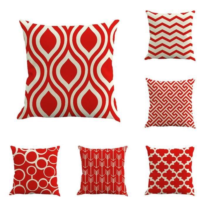6PCS Housses de coussin en tissu imprimé 45x45 cm pour Décoration du Accueil Hotel Festival #1515 Géométrie rouge