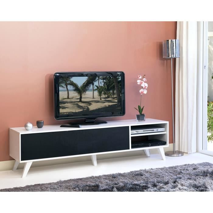 sopra meuble tv style scandinave coloris noir blanc l165cm achat vente meuble tv sopra. Black Bedroom Furniture Sets. Home Design Ideas