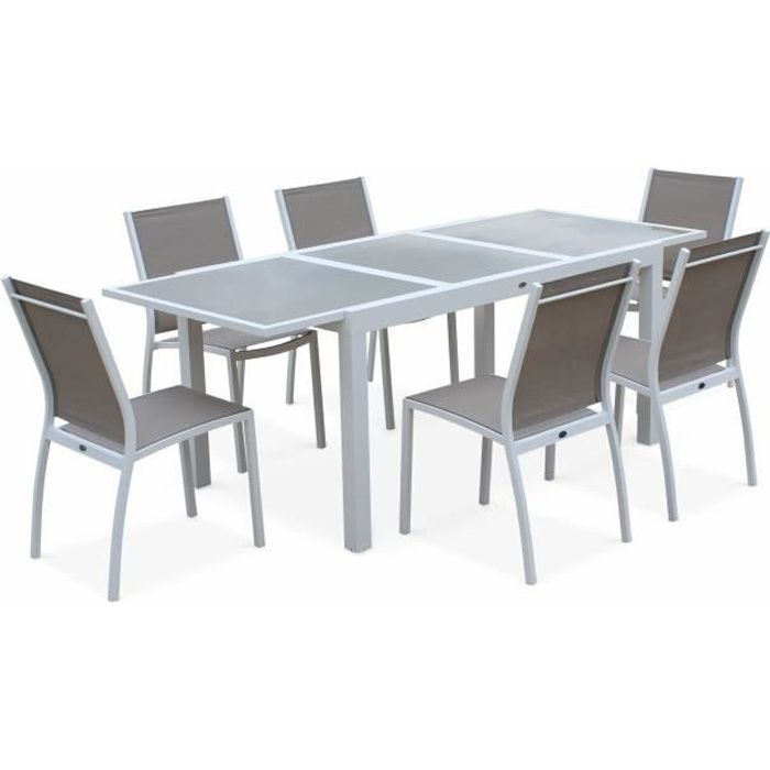 Salon de jardin table extensible - Orlando Taupe - Table en ...