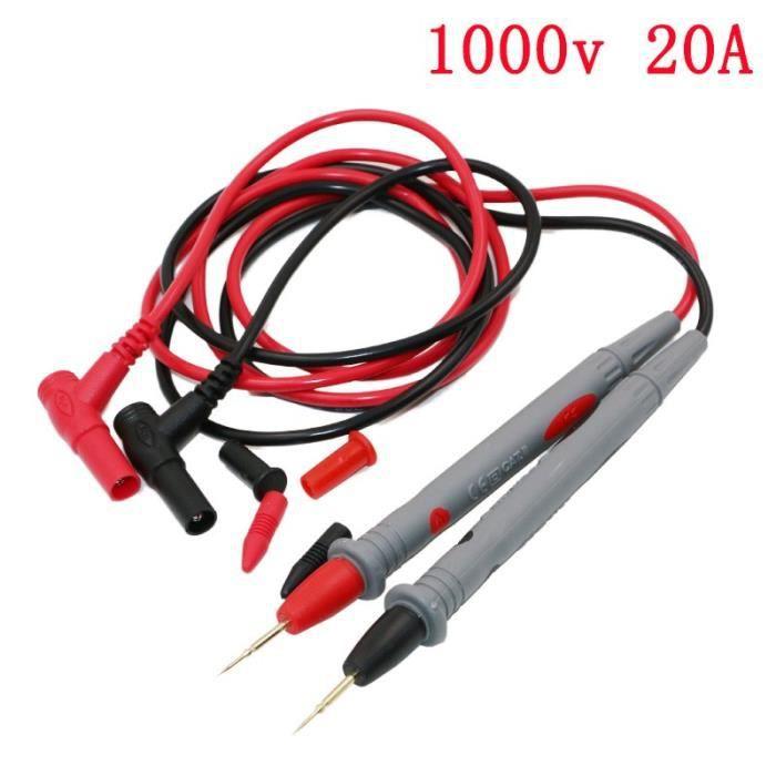 Fltaheroo Une paire de Ligne de test multimetre a Fiche banane 1000V 2.6 Ft Sonde de voltmetre Cable de test de voltmetre Noir et rouge