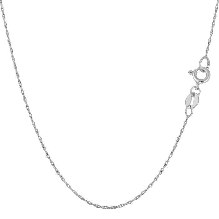 Collier- 10 k corde en or blanc, 0,5 mm, 18