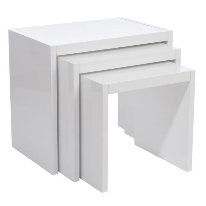 table gigogne bois blanc achat vente pas cher. Black Bedroom Furniture Sets. Home Design Ideas