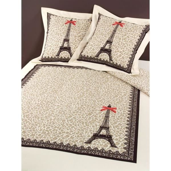 housse de couette 240x260 cm paris leopard vds 2 taies d. Black Bedroom Furniture Sets. Home Design Ideas