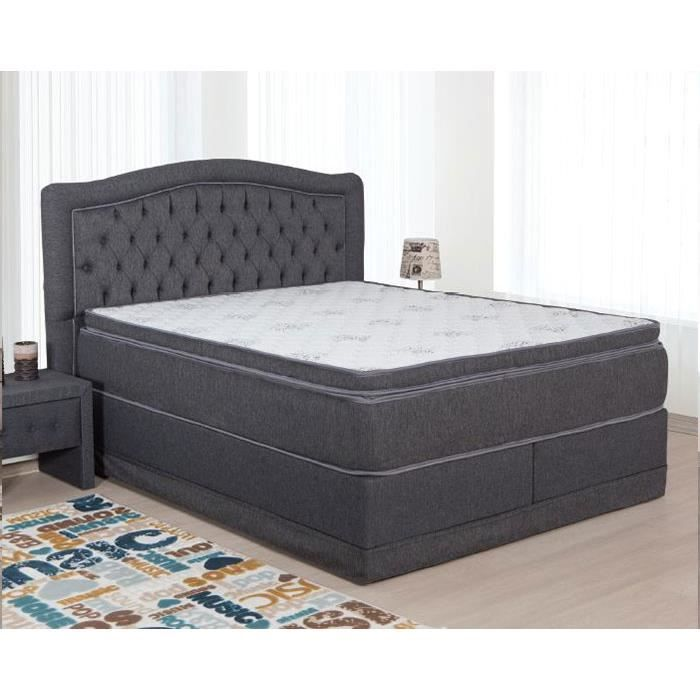 lit coffre capitonn gris ou beige en tissu moderne dana gris couchage 140x200 cm option 1. Black Bedroom Furniture Sets. Home Design Ideas
