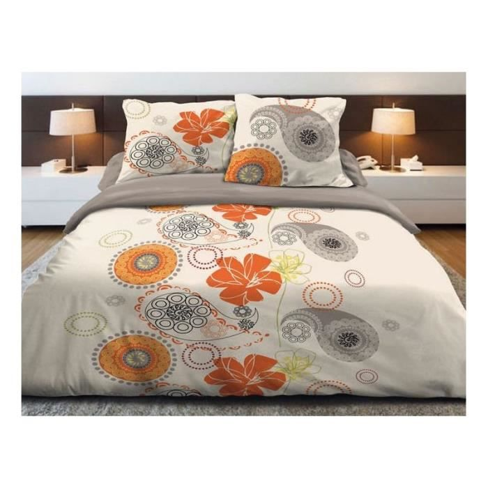 parure de lit fleurs orange 2 personnes 100 coton 160 x 200 cm achat vente parure de drap. Black Bedroom Furniture Sets. Home Design Ideas