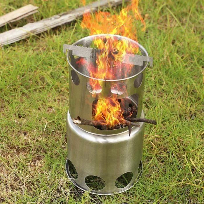 Nouveau réchaud de camping en acier inoxydable pour réchaud à bois facile