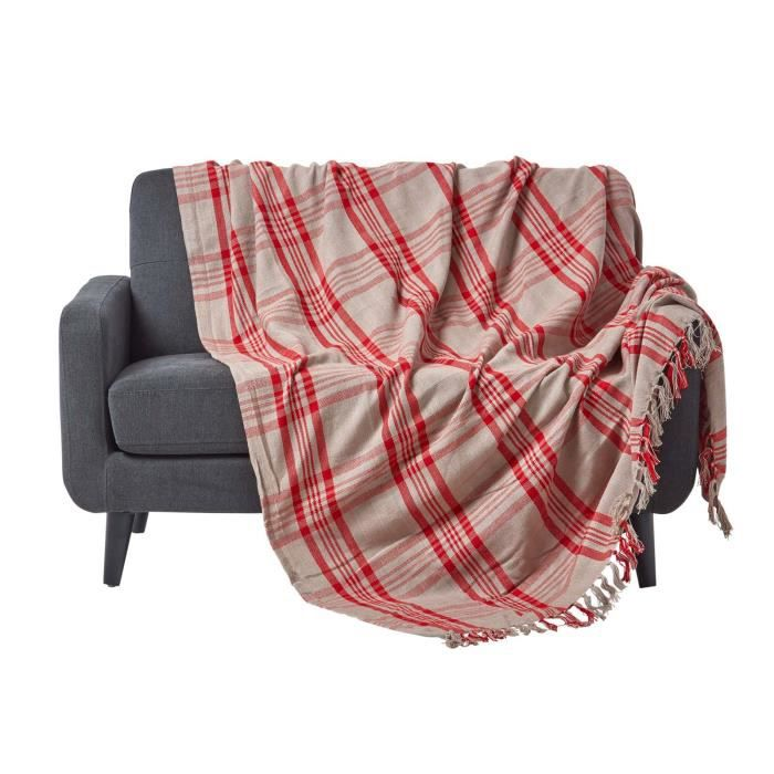 jet de lit ou de canap tartan rouge et gris 150 x 200 cm achat vente jet e de lit boutis. Black Bedroom Furniture Sets. Home Design Ideas