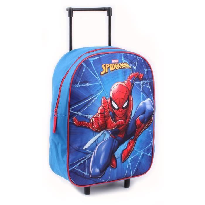 3D Bleu Marvel Spider-Man Sac /à Dos /à roulettes pour Enfants
