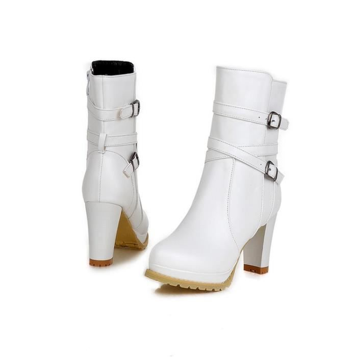 bottes courtes-Pure Color Thick Heel Women Plat...