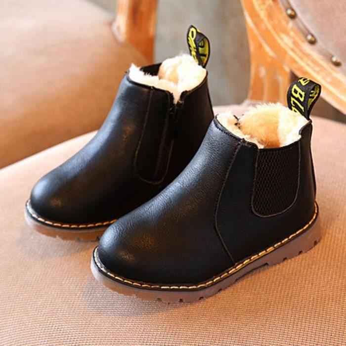 neige bottes chaussures cheville zip garçons hiver chaude Chelsea Enfants filles noir enfant H2IEDYeW9