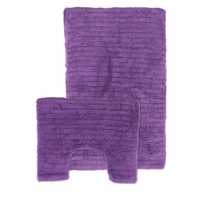 tapis de sdb et contour wc violet achat vente tapis de bain cdiscount. Black Bedroom Furniture Sets. Home Design Ideas