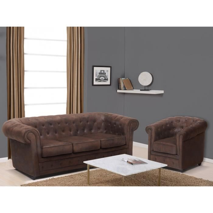 canap 3 places et fauteuil en microfibre aspect cuir. Black Bedroom Furniture Sets. Home Design Ideas