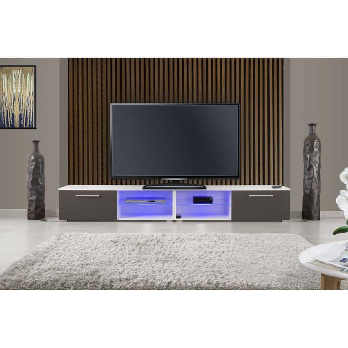 MEUBLE TV IOWA Meuble TV Led Blanc/Gris