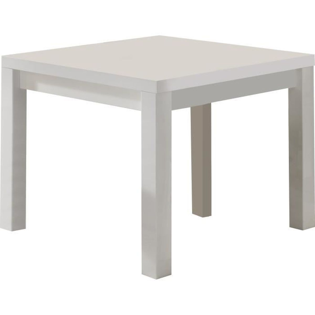 Table manger blanc laqu brillant de forme carr e blanc for Table a manger carre extensible
