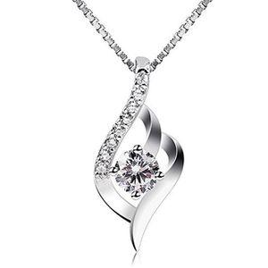SAUTOIR ET COLLIER  Femme Collier en Argent 925, Pendentif diamanté,