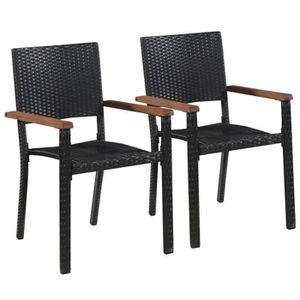FAUTEUIL JARDIN  Chaise d'extérieur 2 pcs Résine tressée Noir