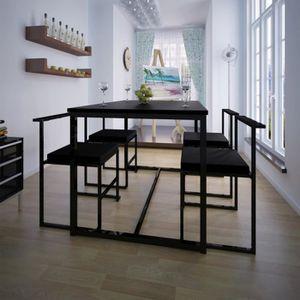 TABLE DE CUISINE  Table de salle à manger et 4 chaises noir MDF