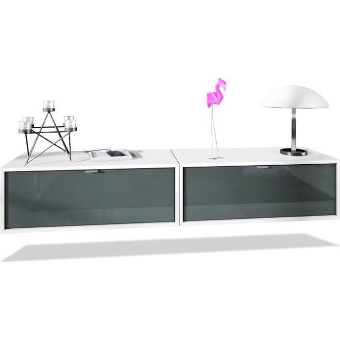 Ensemble de 2 set meuble TV Lana 80 armoire murale lowboard 80 x 29 x 37 cm, caisson en blanc mat, façades en Gris haute brillance