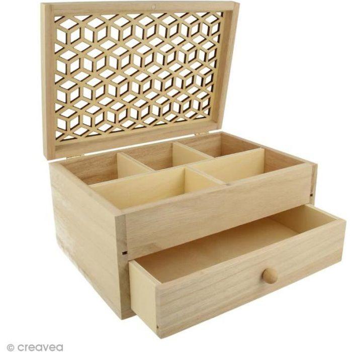 Boîte à bijoux en bois - Motif ajouré - 19,8 x 15 cm Boîte bijoux Artemio : Matière : Bois Dimensions : 19,8 x 15 cm