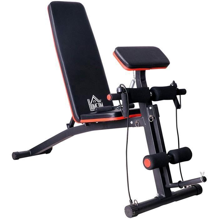 Homcom Banc de Musculation Pliable inclinable réglable 153L x 53l x 102H cm Sangles élastiques + Support haltères Inclus Acier Noir