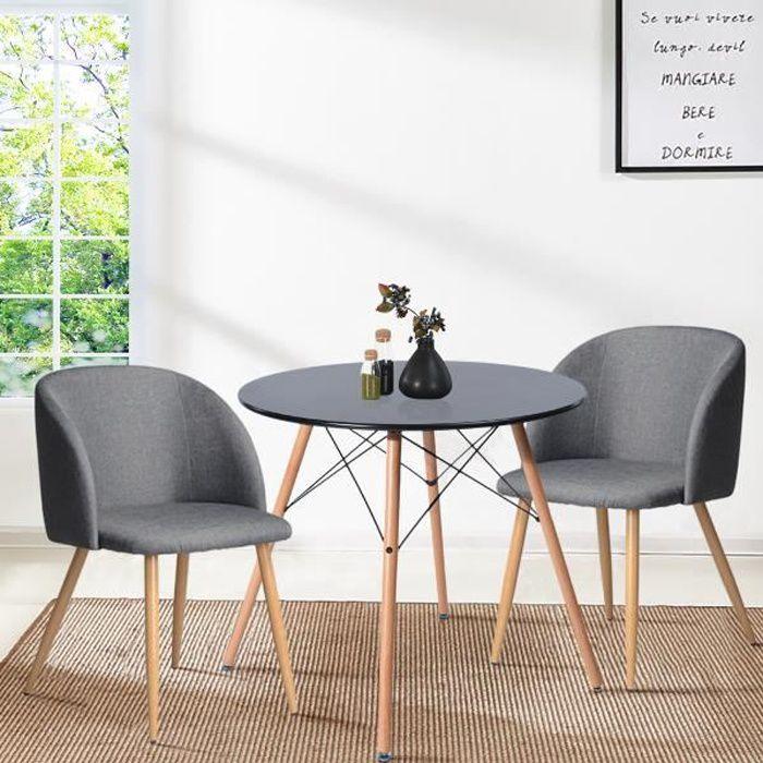 FurnitureR Table à Manger Ronde de 2 à 4 Personnes Scandinave Plateau Noir Laqué Pieds en Bois