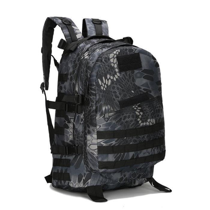 Python Black-45L -Sac à dos tactique militaire Molle de 50l, sac à dos de sport d'extérieur étanche pour Camping randonnée voyage