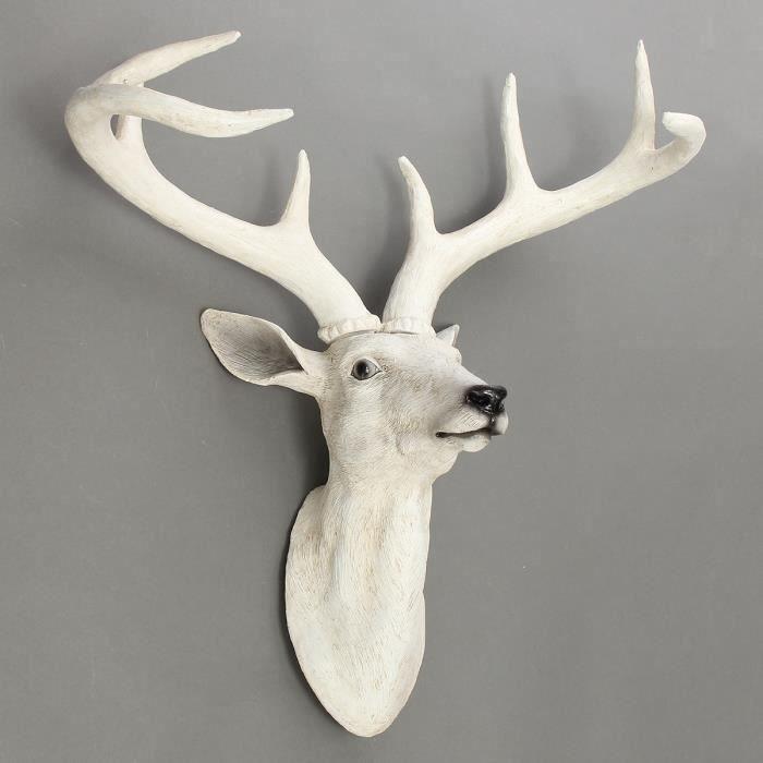 Tête de Cerf Blanc Sculpture En Résine Exotique Decor Mural Aw14933