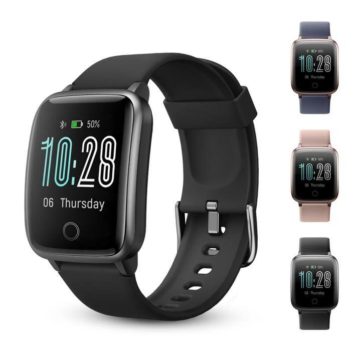Montre Connectée, Montre Smartwatch Intelligente Sport Smart Watch Etanche IP68 Tactile Podometre Moniteur de Sommeil Cardiaque GPS