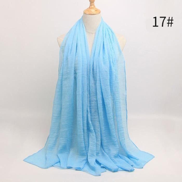 Foulard hijab en coton froissé, écharpe douce, écharpe chaude, écharpe chaude, châle, 25 couleurs, Design hiver, tendanc DY5173