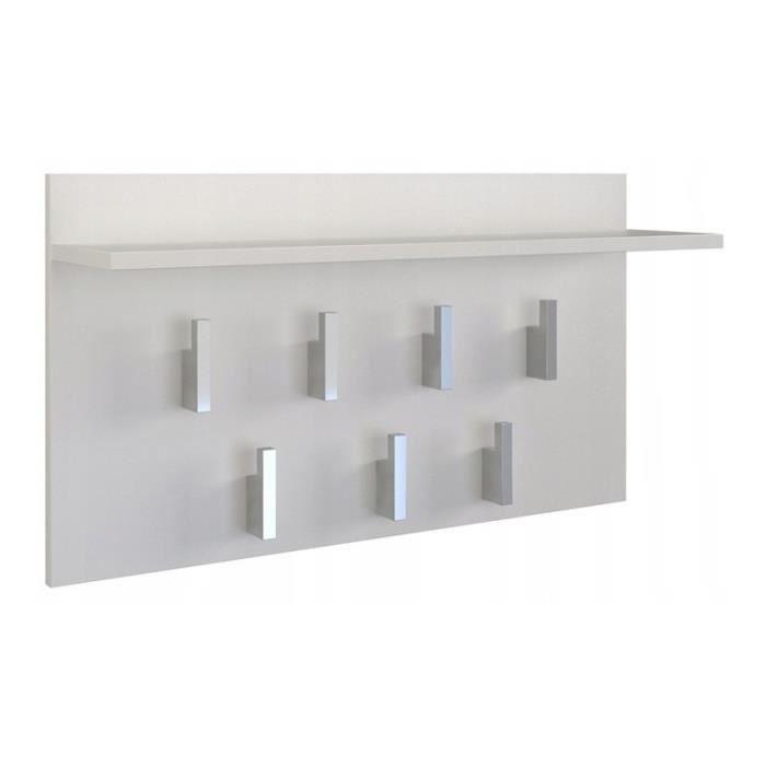 CARMEN - Porte-manteau pratique avec tablette - 7 crochets - Tablette pratique - Design moderne - Dimensions : 40x70x20 - Blanc