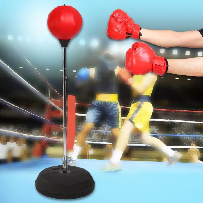 Punch Sac Vitesse Punching Ball Boxe pour Adulte Hauteur Réglable Sac Mitaines Gants Kit de Boxe -RAI