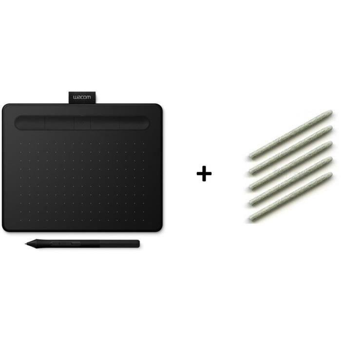 PACK WACOM : Tablette Graphique Intuos S Bluetooth - Noir + Stylet feutre 5 pointes ACK-20003