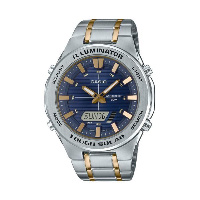 Montre Bracelet CASIO montre solaire multifonction en acier inoxydable pour femmes, cadran bleu LTMRW