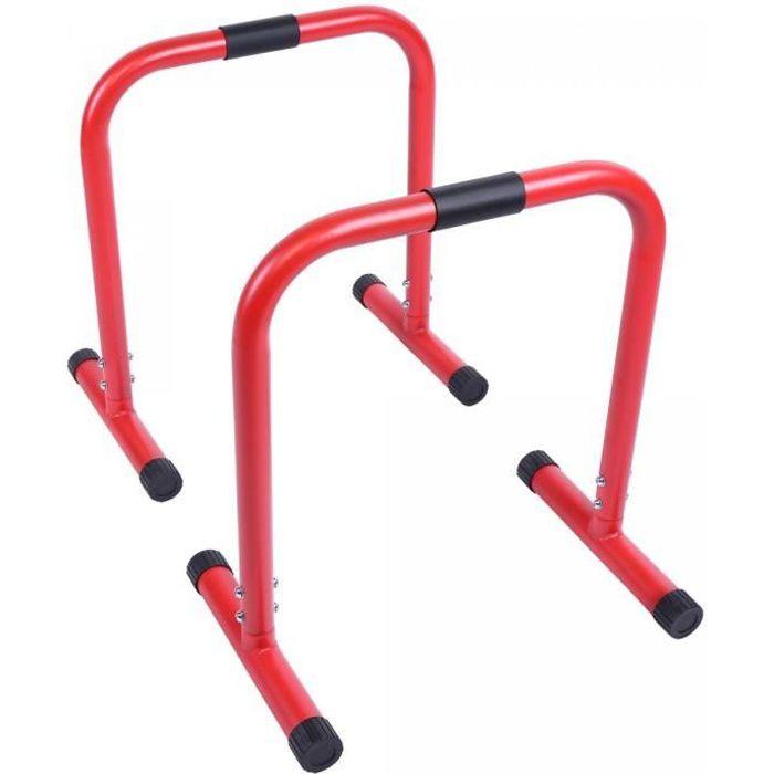 Barres parallèles Gorilla Sports - Hauteur: 73 cm - Coloris : Rouge