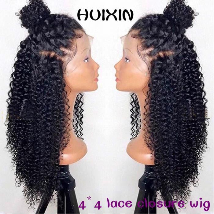 Kinky Curly Perruques 100% cheveux humains Perruques 130 Densité Brésiliens 4*4 lace closure wig 12pouce