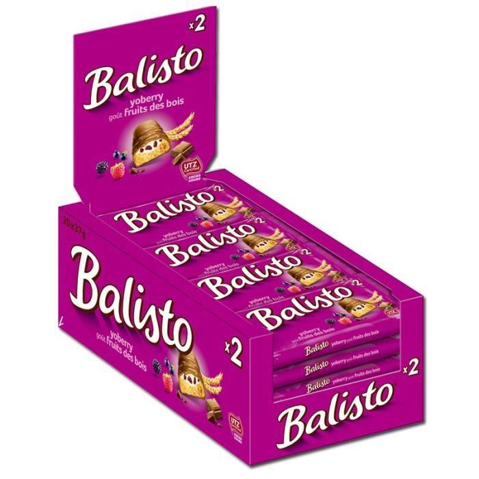 Balisto yoberry goût fruits des bois, barres, chocolat, 20 pièces