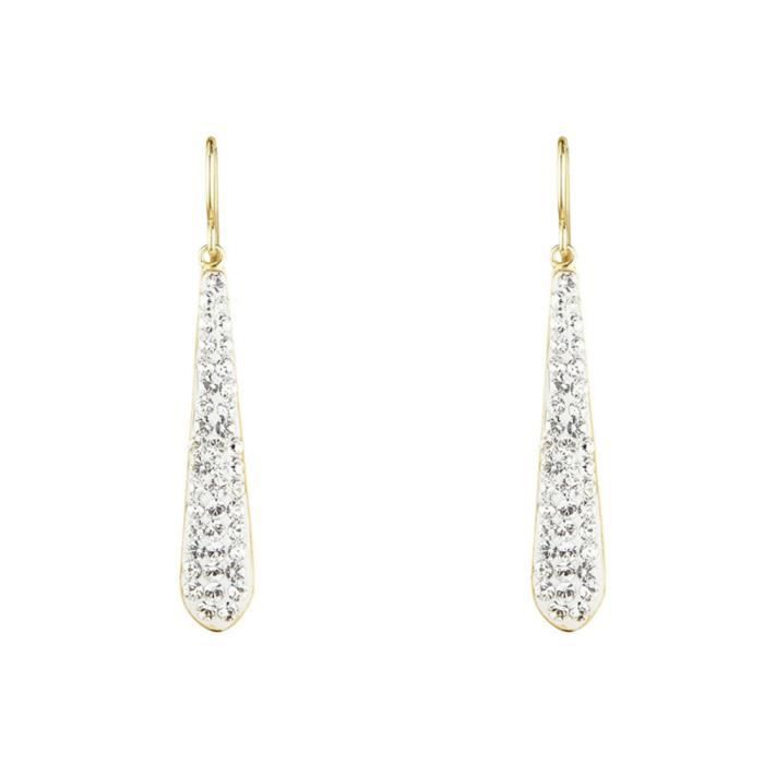 Mes-bijoux.fr - Boucles d'oreilles Femme Métal doré Argenté et ornée de Cristaux de Swarovski Element - WEI176Crjgv