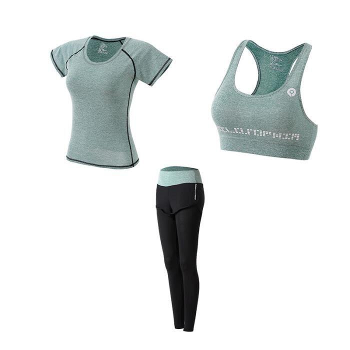 Ensemble de vêtements de sport femmes 3 pièces de Yoga(Soutien-gorge+T shirt+Pantalon) Jogging Fitness Séchage rapide