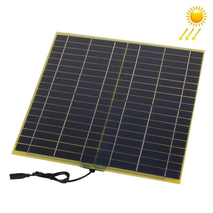 Panneau solaire 15W 18V avec prise DC5521 Femelle et câble chargeur Batterie Auto