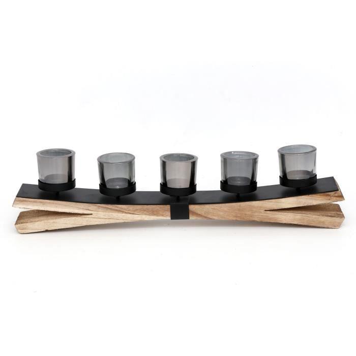 Bougeoir design bois et métal Phonix - L. 55 x H. 13,5 cm - Noir