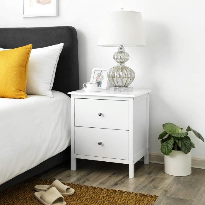 Table de chevet avec 2 tiroirs, 48 x 40 x 56 cm, Table d'ppoint, Style moderne, Blanc, RDN08WT, SONGMICS