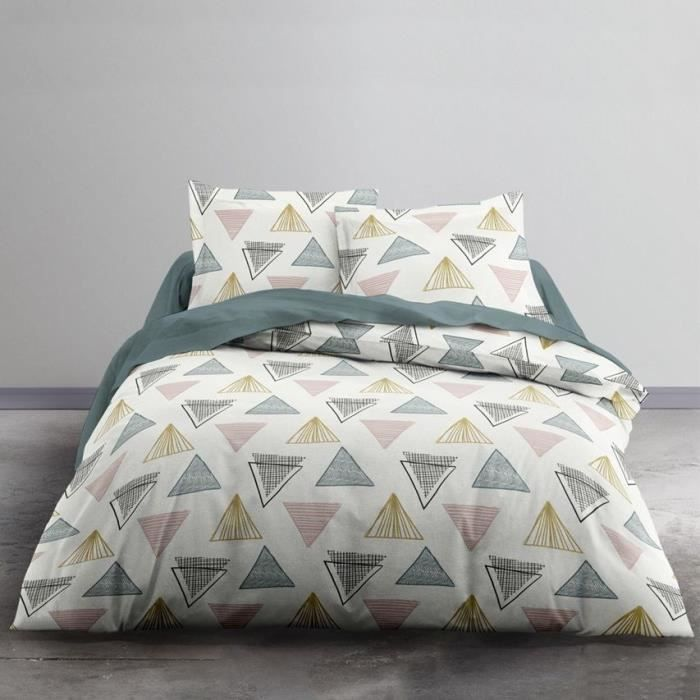TODAY Parure de lit 2 personnes - 220 x 240 cm - Imprimé blanc Graphique CRAZY Keops