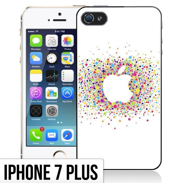 coque iphone 7 plus logo apple multicolore