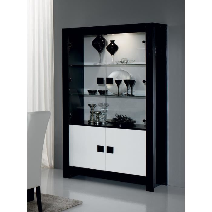 vaisselier noir et blanc laqu design bianka sans. Black Bedroom Furniture Sets. Home Design Ideas