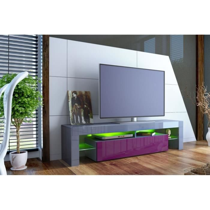 meuble tv design laqu gris et violet non gris violet achat vente meuble tv meuble tv. Black Bedroom Furniture Sets. Home Design Ideas