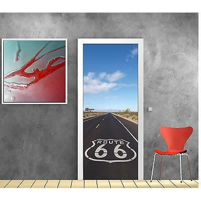 Stickers porte trompe l oeil d co route 66 r f 801 - Stickers porte interieure maison ...