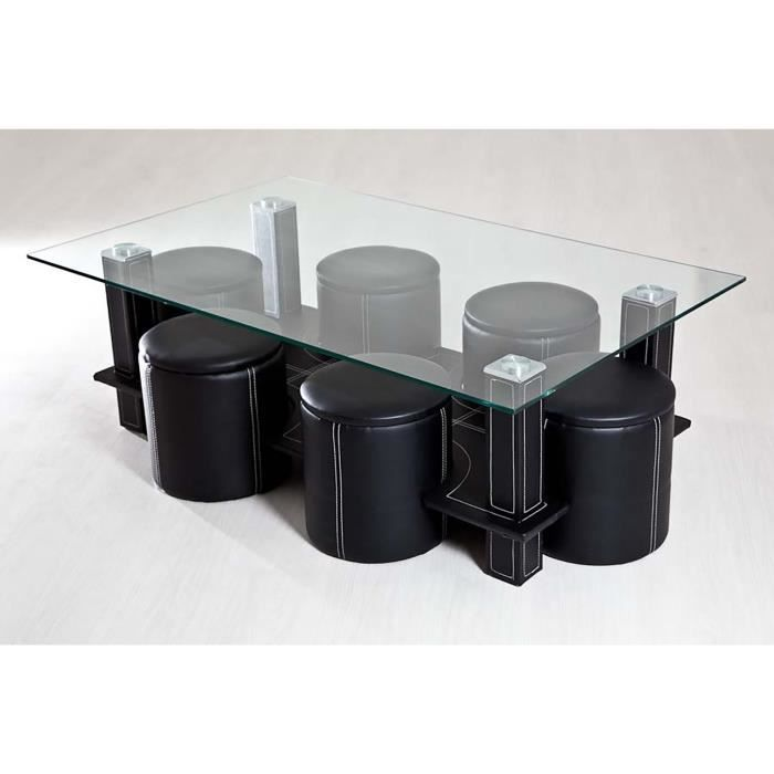 Table basse 6 poufs noir achat vente table basse - Table basse pouf integre ...