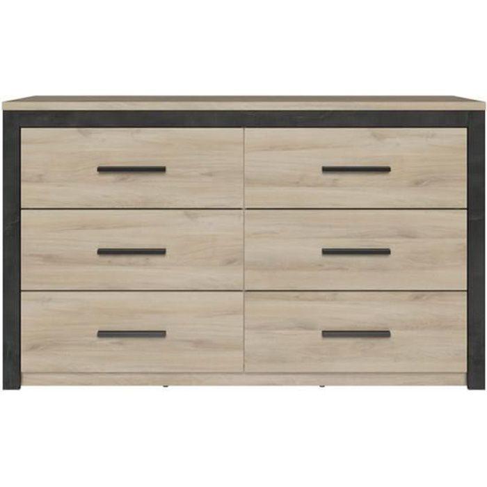 commode 6 tiroirs chene clair noir khanda bois bois l 129 x l 42 x h 77 cm commode