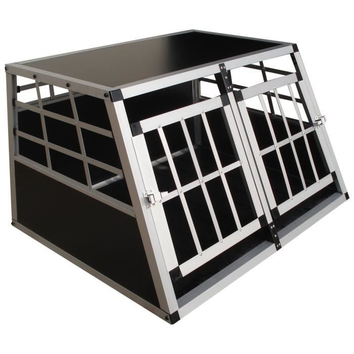 cage de transport pour chien caisse boite de transport mobile box aluminium 2 portes achat. Black Bedroom Furniture Sets. Home Design Ideas